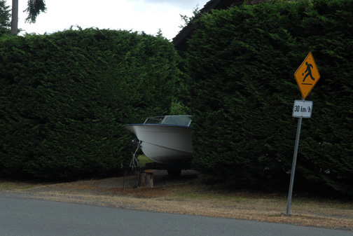 Boat In Hedge, Langford, BC, 2009