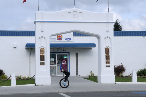 Unicyclist and Legion Branch #28, Cumberland, BC 2011