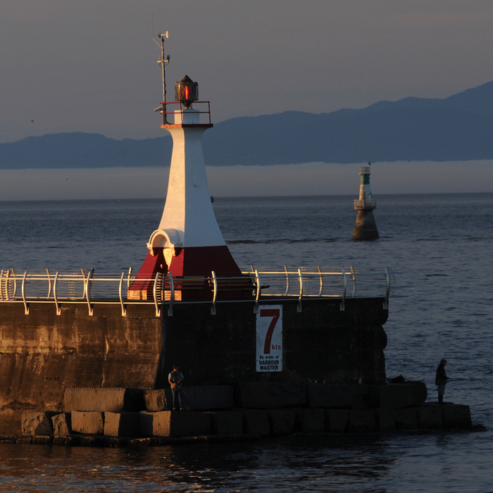 Early morning fishermen on the Ogden Point breakwater