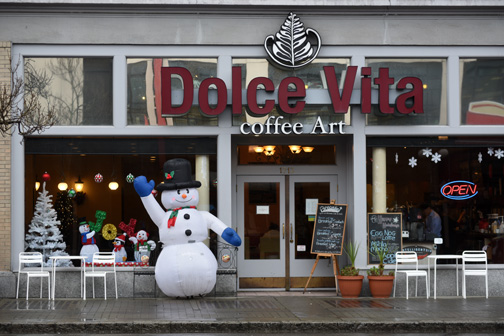 Snowman and Coffee Shop Victoria, BC 2014