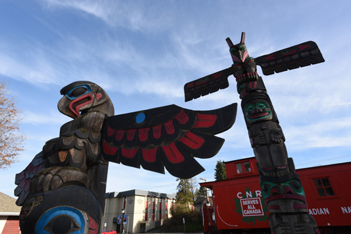 Totem Poles and train caboose, Duncan, BC 2014