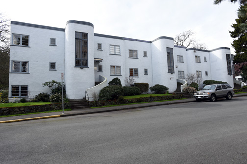 Front view of the Athlone Apartments showing the three stair towers.