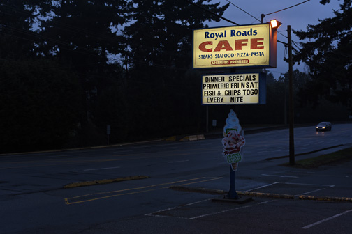 A classic old school road side restaurant, the Royal Roads Cafe, in Colwood, British Columbia.