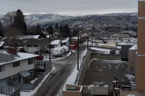 Back alley in the snow, Kamloops, BC 2015