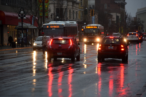 Douglas Street traffic in the rain, Victoria, BC 2015