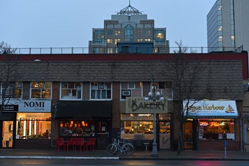 Stores at dusk, Blanshard Street, Victoria, BC 2016