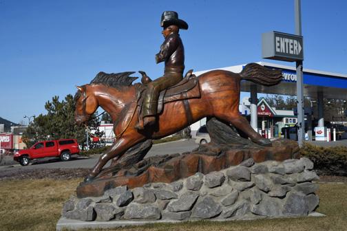 Broken Rodeo Cowboy Statue, Williams Lake, British Columbia 2016