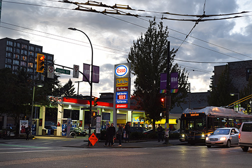 Last Gas Station, Davie Street at Burrard Street, Vancouver Brit