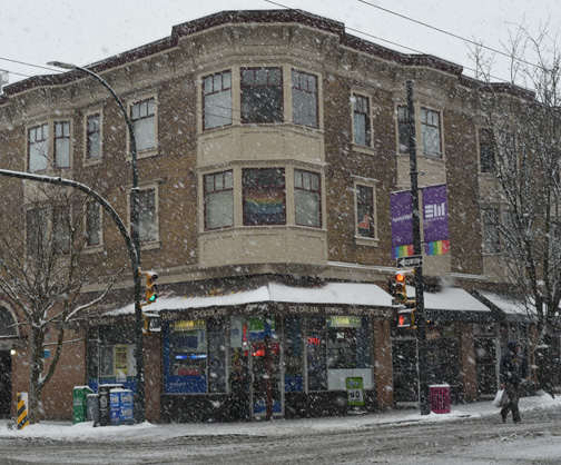 Corner Store in Snowstorm, Davie and Thurlow, Vancouver, British