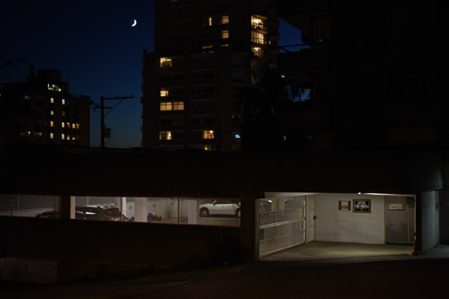 Parking Garage and crescent moon, Bute Street, Vancouver, Britis